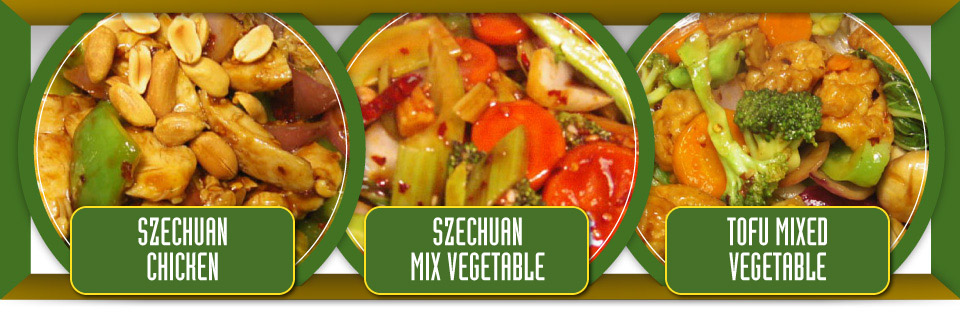 Szechuan chicken, Szechuan mixed vegetable ad tofu mixed vegetable