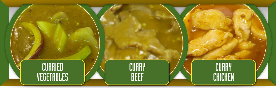 Curried vegetable, curry beef and curry chicken