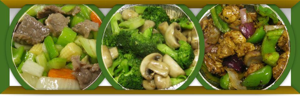 Beef & Vegetables with Almonds, Broccoli & Mushrooms, Chicken in Black Bean Sauce