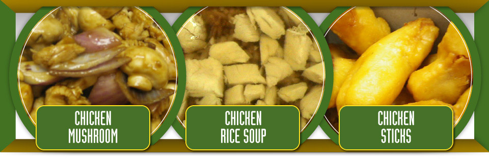 Chicken mushroom, chicken rice soup and chicken sticks