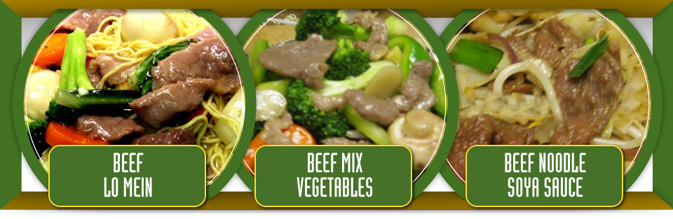 Beef lo mein, beef mix vegetables and beef noodle soya sauce