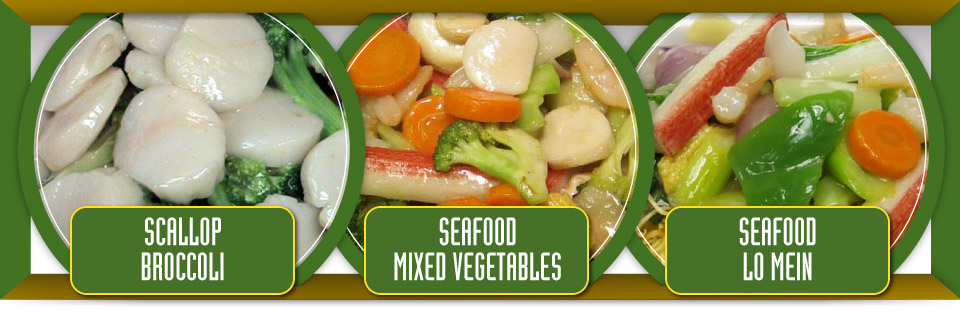 Scallop broccoli, seafood mixed vegetables and seafood lo mein
