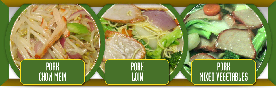 Pork chow mein, pork loin and pork mixed vegetables
