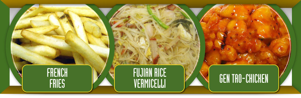 French fries, fujian rice vermicelli and Gen Tao chicken