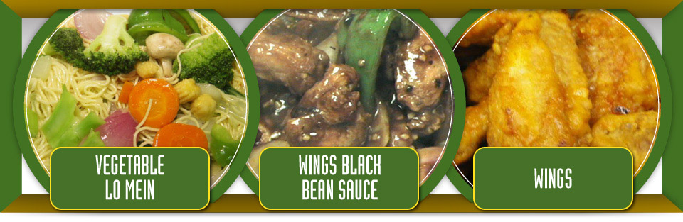 Vegetable lo mein, wings black bean sauce and wings