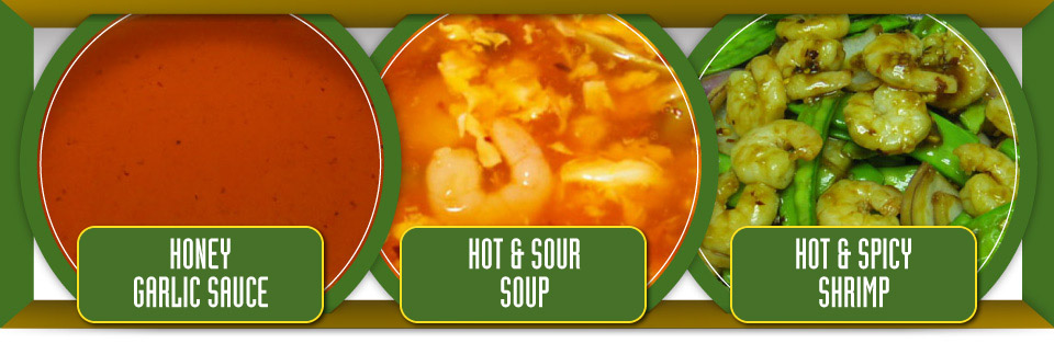 Honey garlic sauce, hot and sour soup, and hot and spicy shrimp