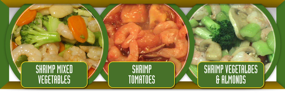 Shrimp mixed vegetable, shrimp tomatoes and shrimp vegetables and almonds