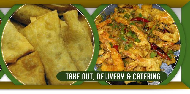 Take out, delivery & catering, eggrolls and shrimp dish