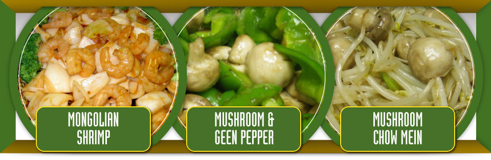 Mongolian shrimp, mushroom and green pepper and mushroom chow mein